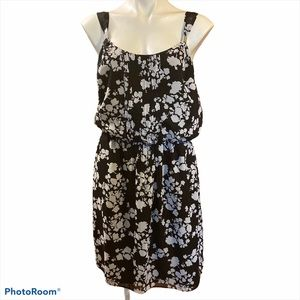WHBM Black and white floral dress with straps